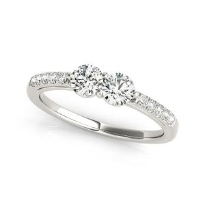 Elegant And Polished Two Stone Diamond Ring In 14k White Gold