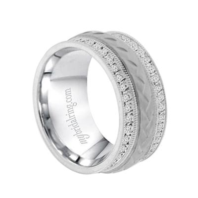 Mens Wedding Band.Illustrious 10mm Mens Wedding Band In 14k White Gold