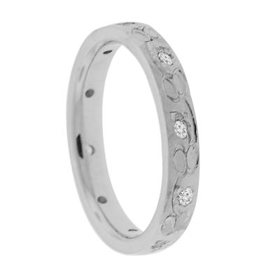Custom Mens Wedding Bands.A Custom Pattern Set In 3mm Mens Wedding Band Crafted In 14k White Gold