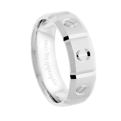 Cartier Mens Wedding Bands | Cartier Inspired Mens Grooved Wedding Band