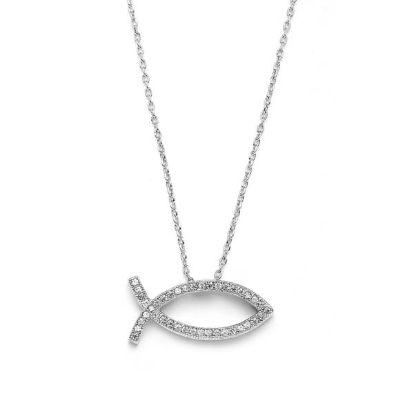 Christian fish faith necklace in cubic zirconia rhodium for Christian fish necklace