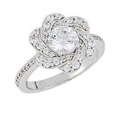 round diamond flower shaped engagement ring. Black Bedroom Furniture Sets. Home Design Ideas