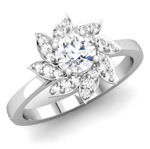 Round Diamond Flower Inspired Engagement Ring