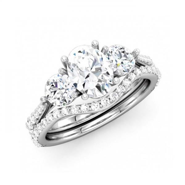 three stone oval diamond bridal set