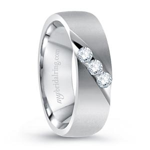 14K White Gold Bazel Set Diamond Wedding Ring