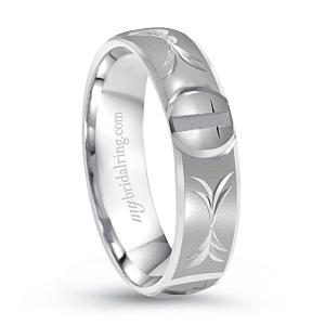 14K White Gold Christian Cross Wedding Band