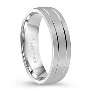 14k Brush Finished Plain White Gold Wedding Band