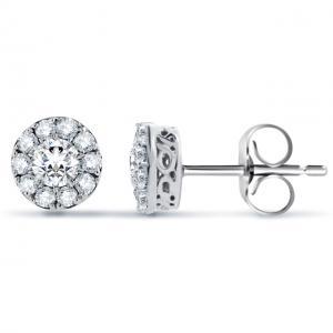 14k White Gold Haloed Round Diamond Shape Earring