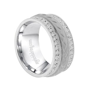 Illustrious 10mm Mens Wedding Band In 14k White Gold