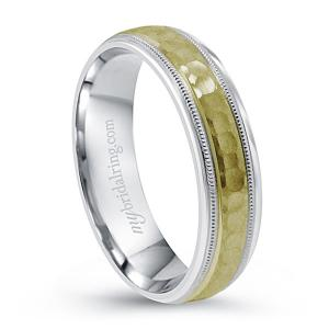 Two Tone Hammered Finish Wedding Band