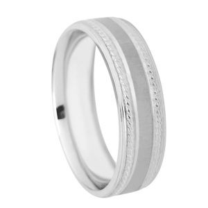Carved Design Milgrain Wedding Band