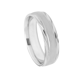 Satin Finish Wedding Band With Milgrain Detail