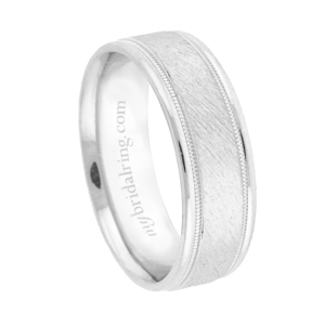 Brushed Finish Milgrain Detail Wedding Band
