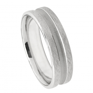 Brushed Finish Center Groove Wedding Band