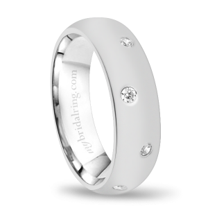 Domed Wedding Band With Diamonds