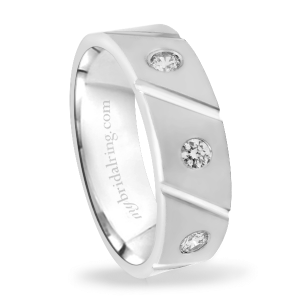 Diagonal Grooved Diamond Wedding Band