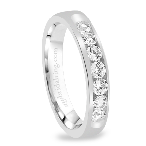 Domed Channel Set Diamond Wedding Band
