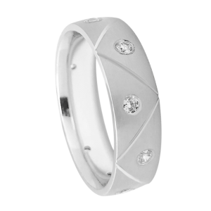 Satin Grooved Diamond Wedding Band