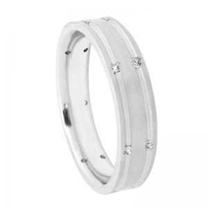 Modern Grooved Diamond Wedding Band