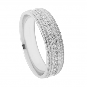Channel Set Diamond Wedding Band With Milgrain Detail