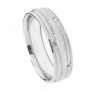 Rope Design With Milgrain Detail Diamond Wedding Band