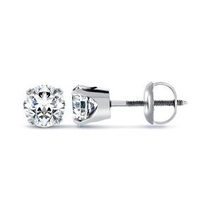 4-prong Round Shape Diamond Earrings