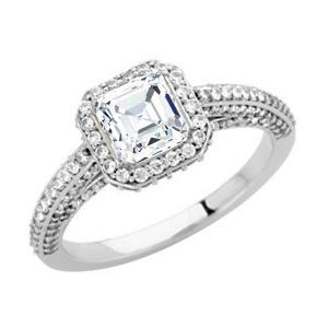 Asscher Cut Diamond Frame Engagement Ring