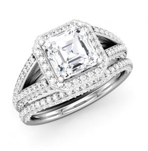 Asscher Cut Diamond Split-Shank Side Frame Bridal Set