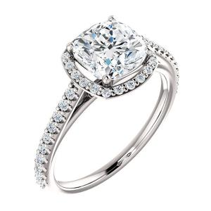 Asscher Cut Floating Diamond Engagement Ring