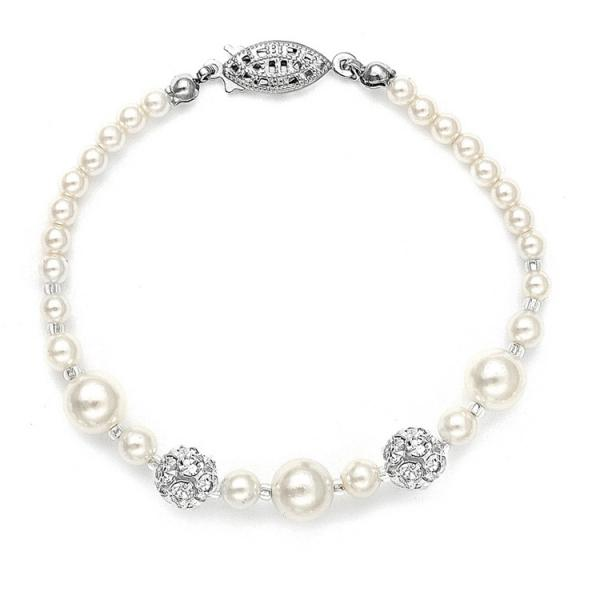 Best Selling Bridal Bracelet With Pearls & Rhinestone Fireballs