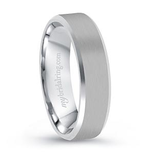 Beveled Brush Finish Engagement Band In 14K White Gold