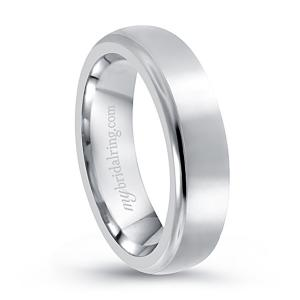 Beveled Brush Finish Wedding Band In 14K White Gold