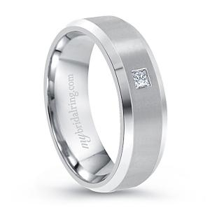 Square Cut Diamond Wedding Band