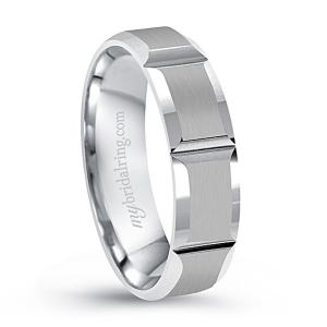 Beveled Swiss Cut Engagement Band In 14K White Gold