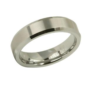 Beveled White Gold Wedding Band