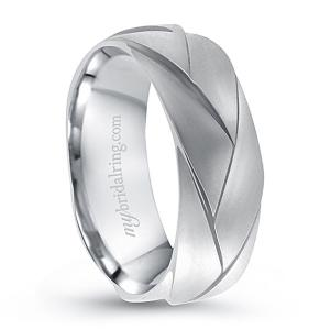 Braided Brush Finish Wedding Band In 14K White Gold