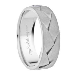 Braided Comfort Fit Wedding Band In 14K White Gold