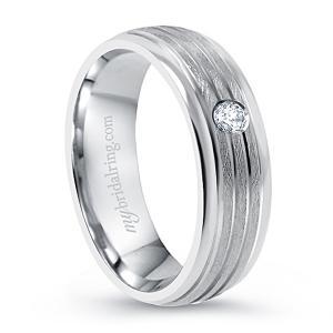 Brush Finish Bezel Set Diamond Wedding Ring