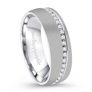 Brush Finish Men's Diamond Accent Wedding Band