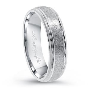 Brushed Wedding Band In 14K White Gold