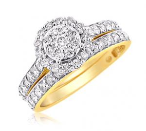 CLUSTER HALO BRIDAL SET IN 14K YELLOW GOLD