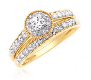 Channel Set Round Halo Bridal Set In 14K White/Yellow Gold
