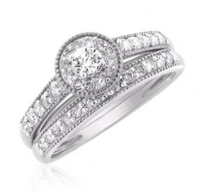 Channel Set Round Halo Dual Bridal Set