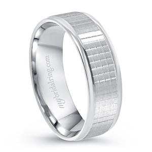 Check Design Eternity Band In 14K White Gold