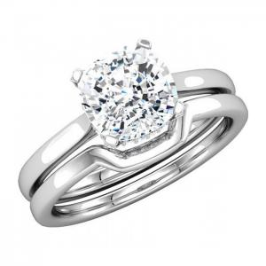 Classic Solitaire Cushion Diamond Bridal Set