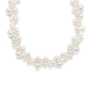 Crystal & Pearl Bubbles Bridal Necklace