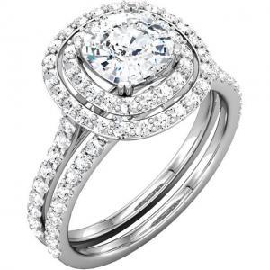 Cushion Diamond Double Halo Bridal Set