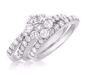DIAMOND FLOWER BRIDAL SET IN 14K WHITE GOLD