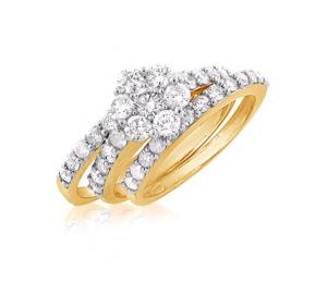 DIAMOND FLOWER DESIGN BRIDAL SET IN 14K WHITE/YELLOW GOLD