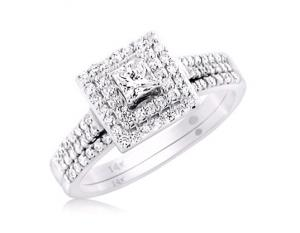 DOUBLE-FRAMED PRINCESS-CUT BRIDAL SET IN 14k WHITE GOLD